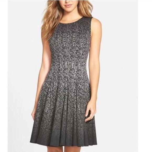 Eliza J Fit & Flare Black Ombre Dress 8 Sleeveless